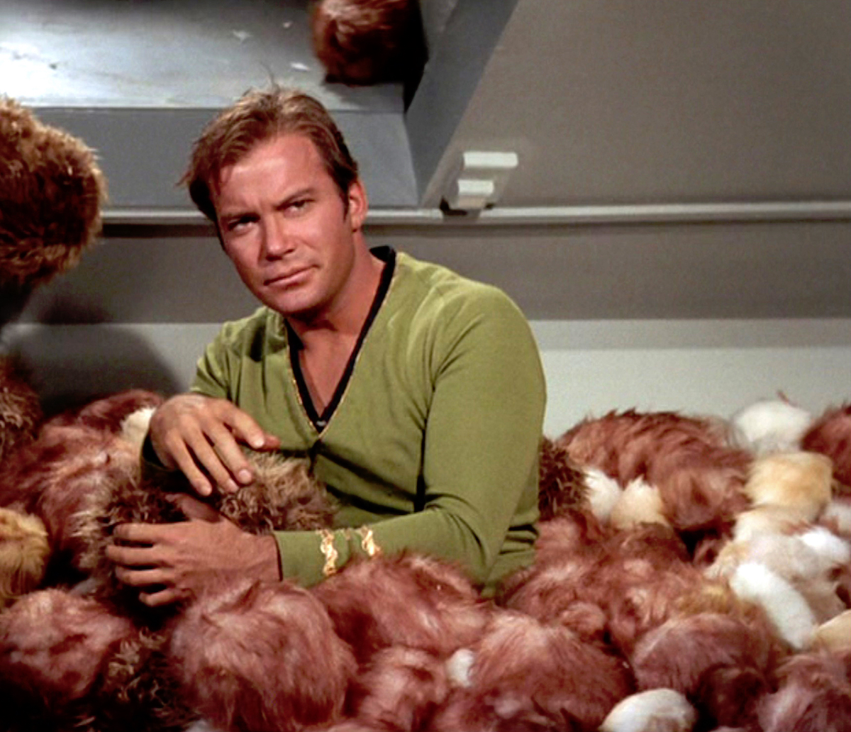 William Shatner as James Kirk in the 'Star Trek' episode 'The Trouble With Tribbles'
