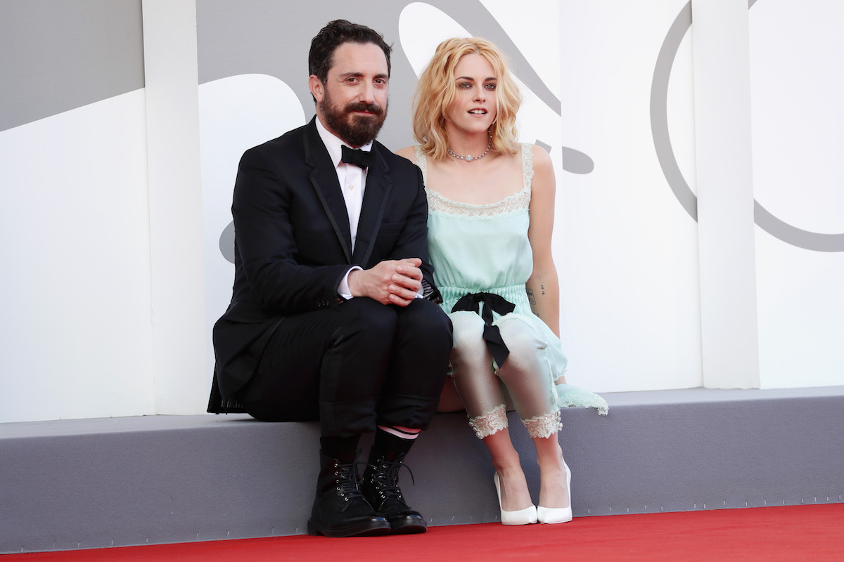 Kristen Stewart and Pablo Larraín on the red carpet