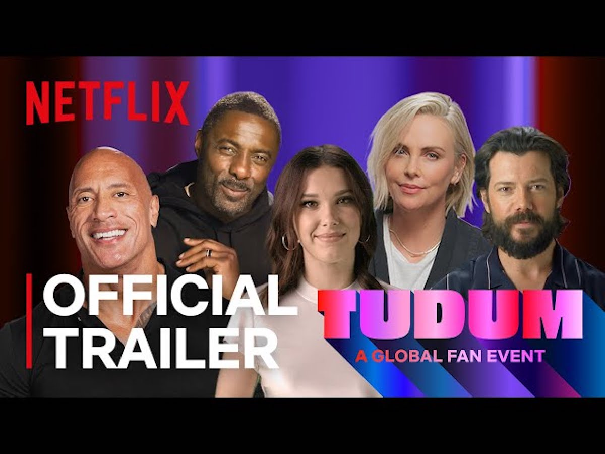 Dwayne 'The Rock' Johnson, Idris Elba, Millie Bobby Brown from 'Stranger Things,' Charlize Theron, and more in a still from the promotional trailer for TUDUM.