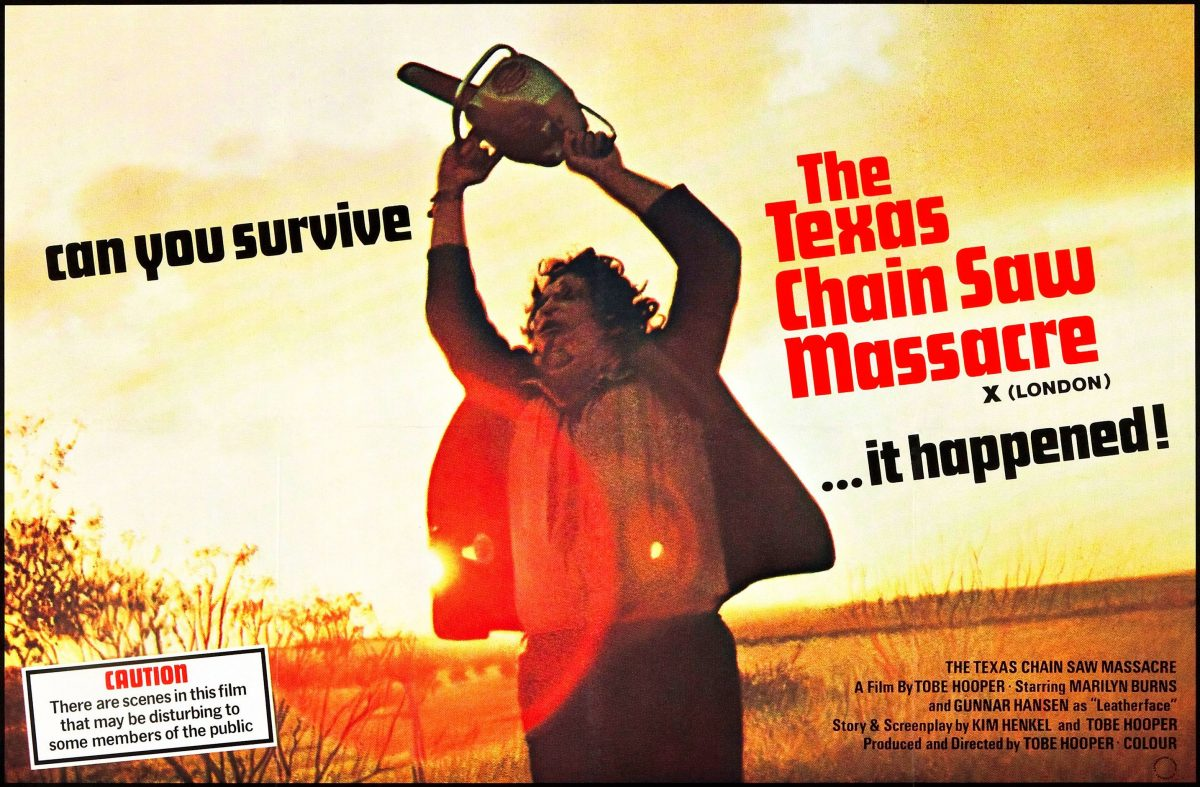Leatherface running in Texas Chainsaw Massacre poster