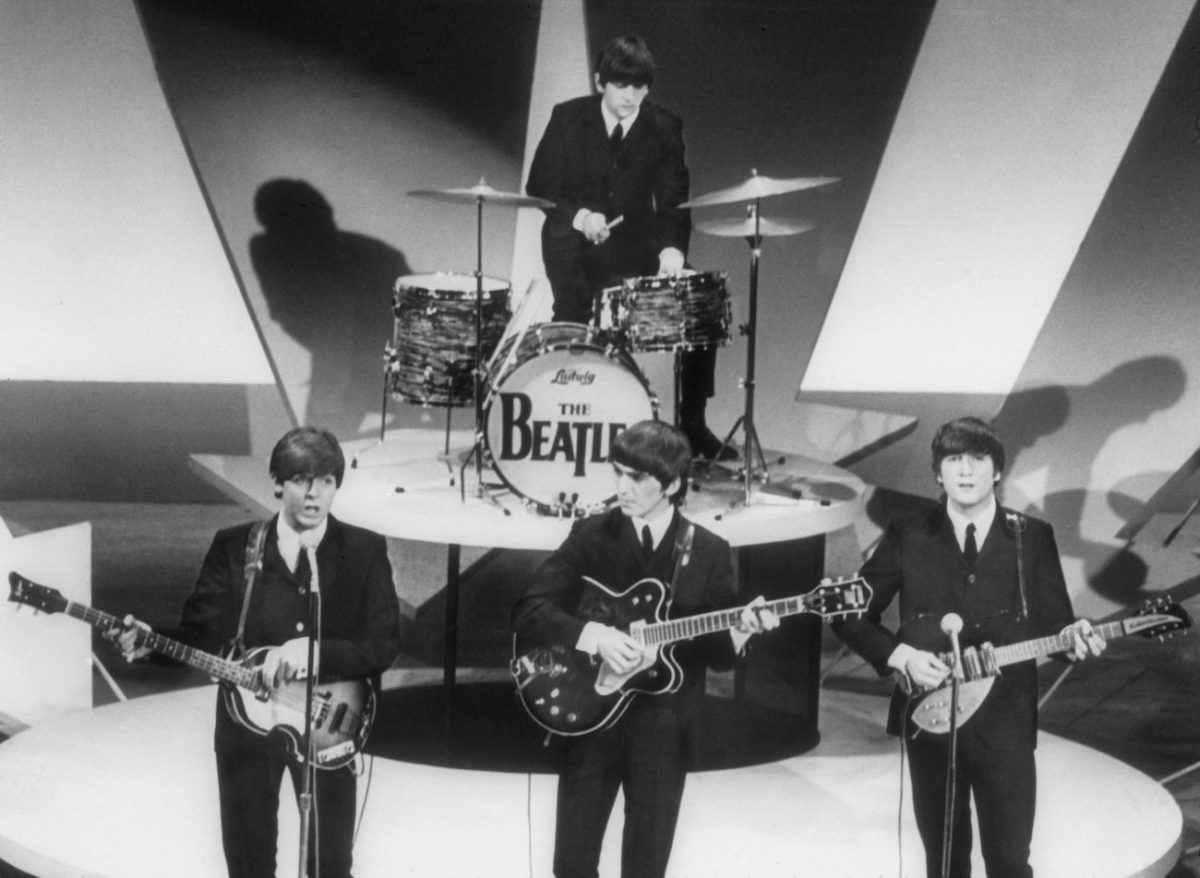 The Beatles performing on 'The Ed Sullivan Show' in 1964.