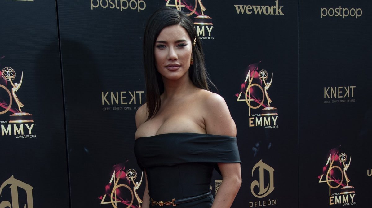 The Bold and the Beautiful speculation focuses on Jacqueline MacInnes Wood's character of Steffy Forrester, pictured here in a black dress against a black background