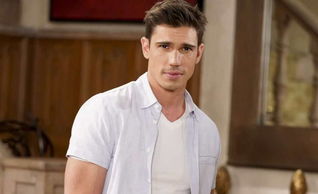 The Bold and the Beautiful speculation focuses on John 'Finn' Finnegan, pictured here in a white T-shirt against a yellow background
