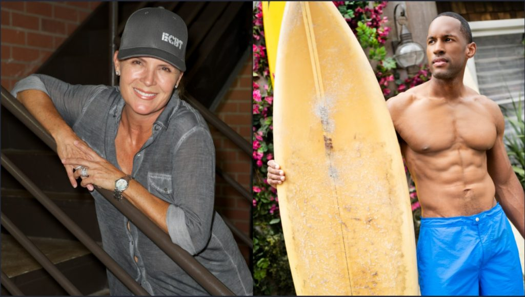 The Bold and the Beautiful stars Kimberlin Brown in a baseball cap on the left, and Lawrence Saint-Victor, shirtless with a surfboard on the right