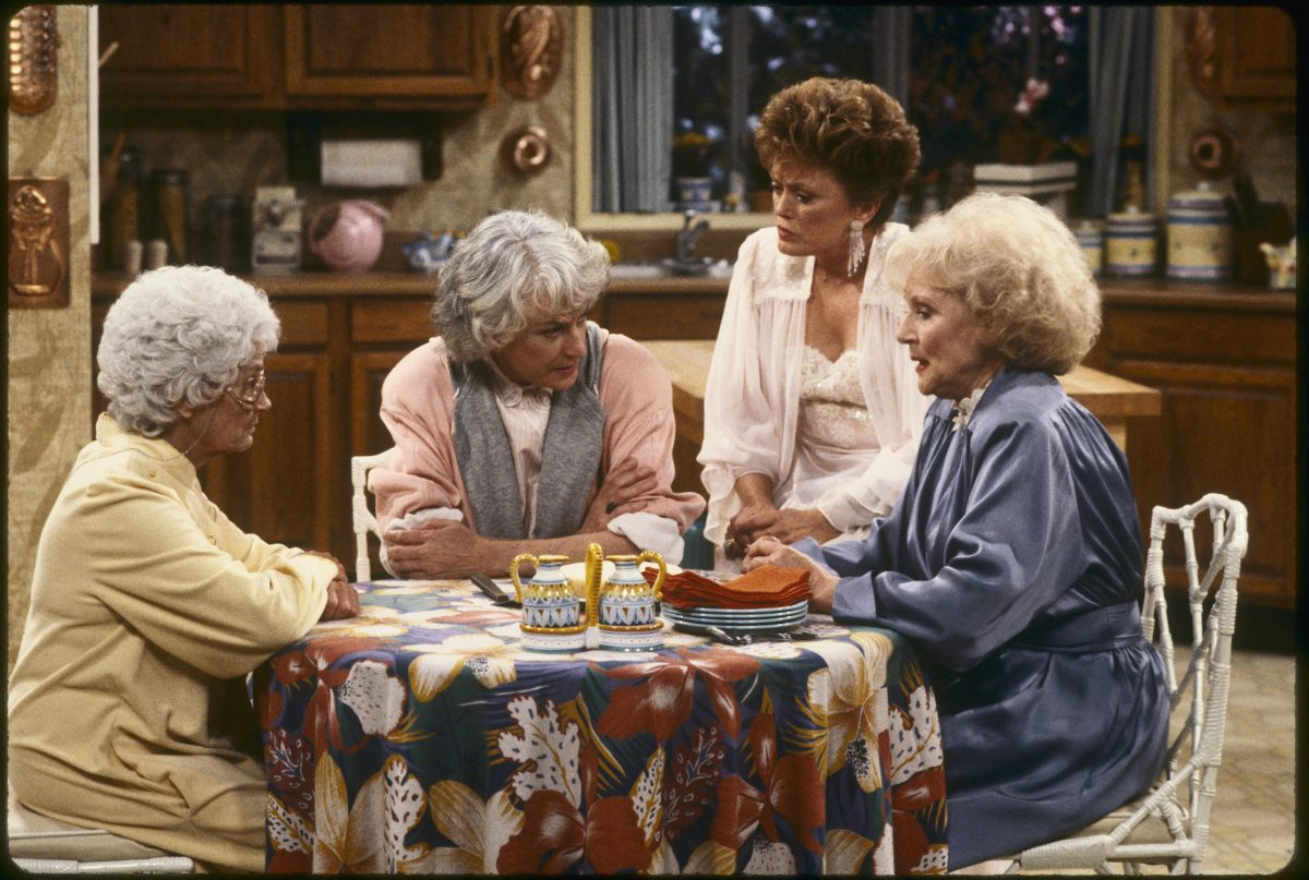 Estelle Getty, Bea Arthur, Rue McClanahan and Betty White sit in the living room on 'The Golden Girls'