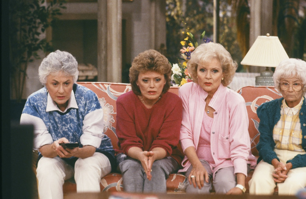 Bea Arthur as Dorothy Zbornak, Rue McClanahan as Blanche Devereaux, Betty White as Rose Nylund and Estelle Getty as Sophia Petrillo in a scene from 'The Golden Girls.'