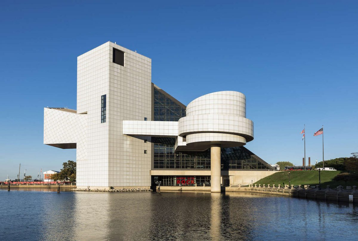 The exterior of the Rock & Roll Hall of Fame museum.