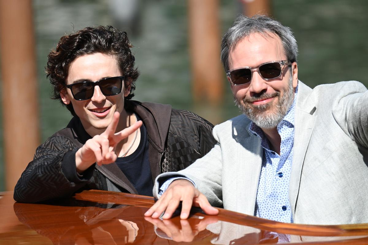Timothée Chalamet and Denis Villeneuve in a boat