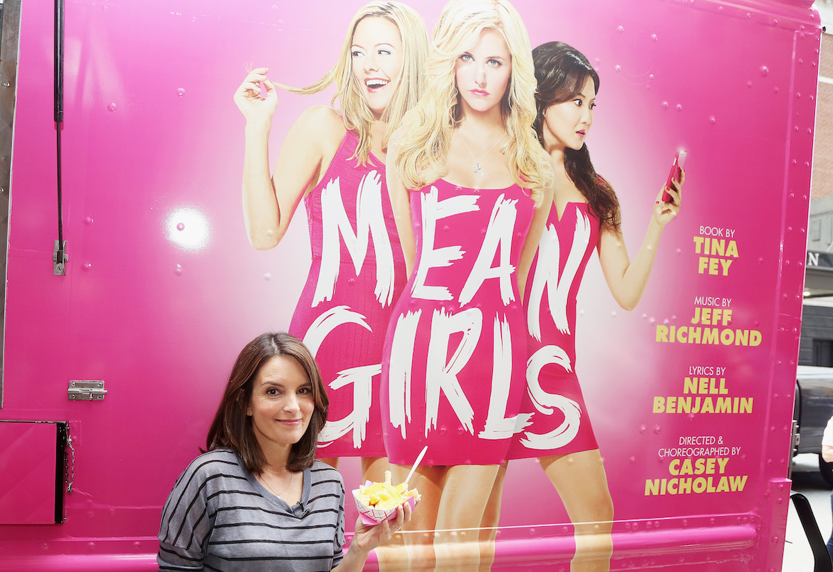 Tina Fey in front of a food truck for 'Mean Girls'