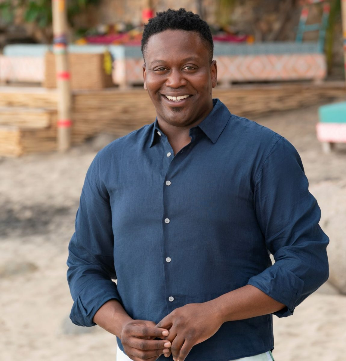 Tituss Burgess hosting 'Bachelor in Paradise' in a blue button up shirt