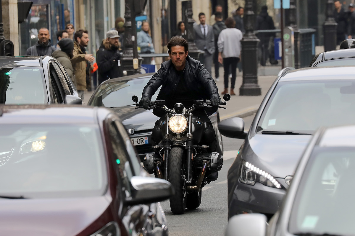 Tom Cruise on a bike for 'Mission: Impossible'