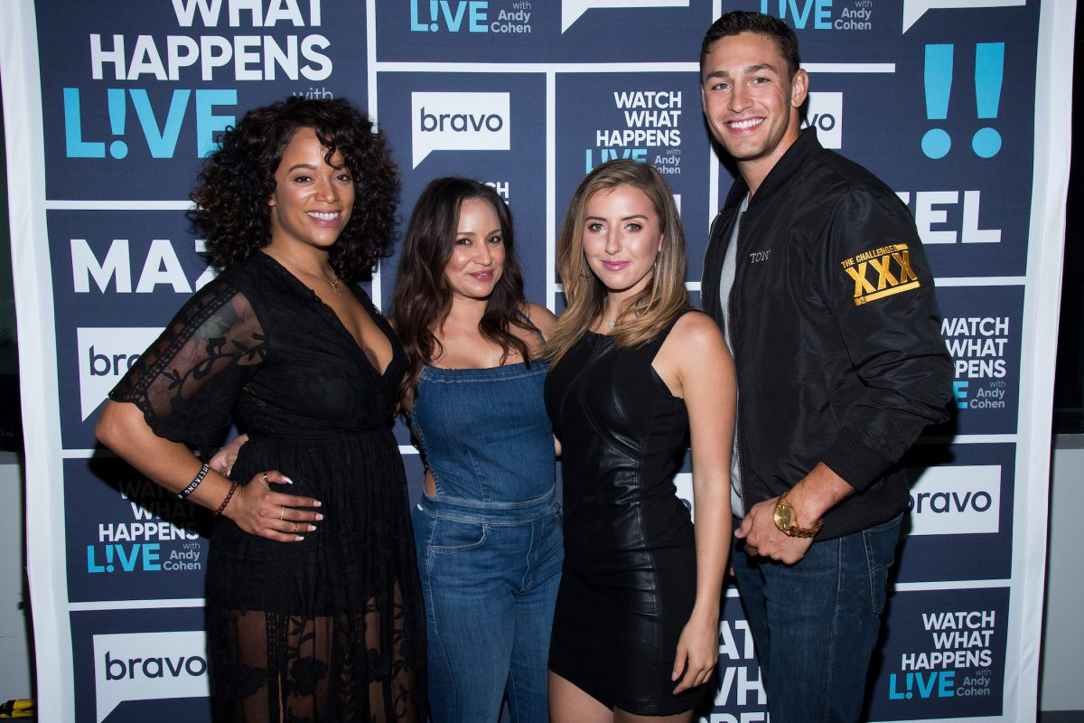 Aneesa Ferrier, Veronica Portillo, Camila Nakagawa, and Tony Raines from 'The Challenge' standing together and smiling