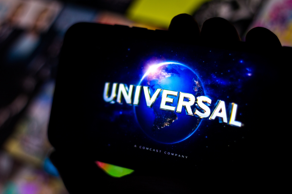 Universal Pictures logo on a cell phone