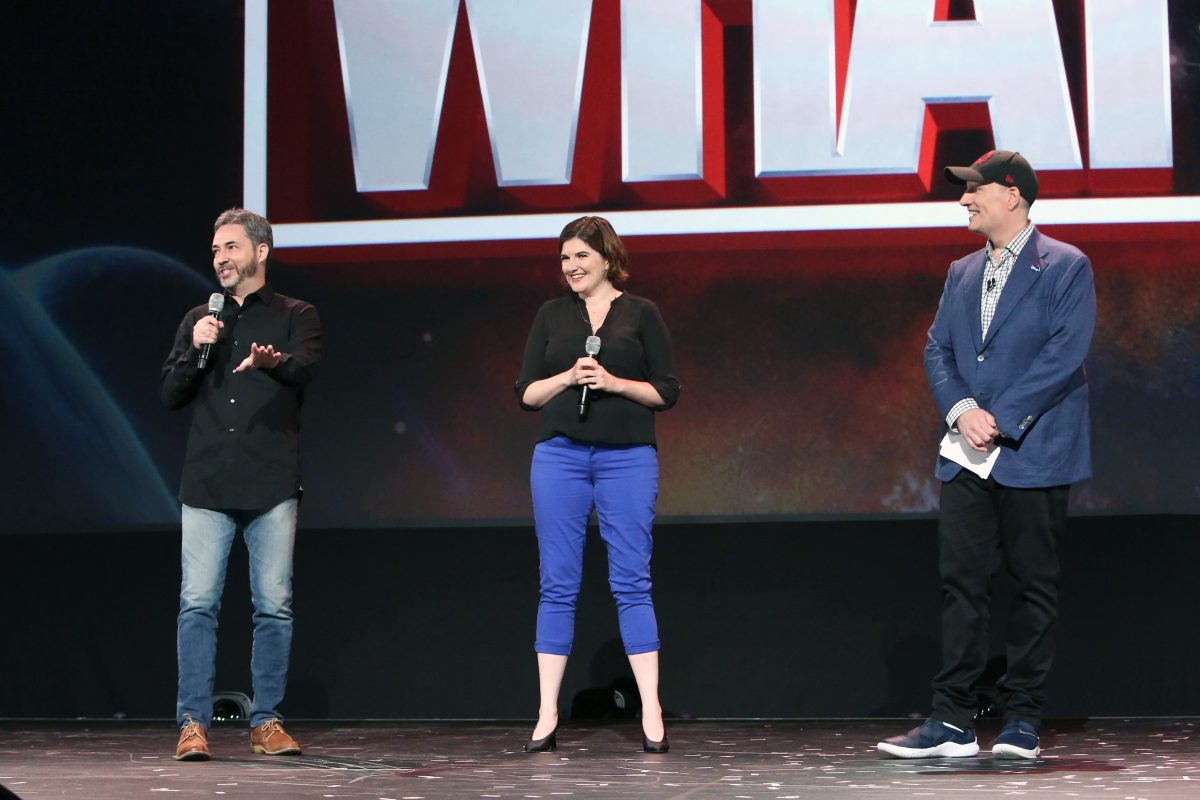 Bryan Andrews, A.C. Bradley, and Kevin Feige onstage at a showcase for 'What If...?'