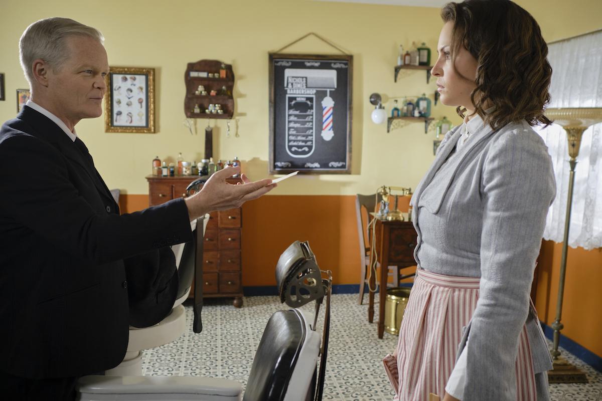 Wyman Walden facing Fiona in the barbershop in 'When Calls the Heart' Season 8