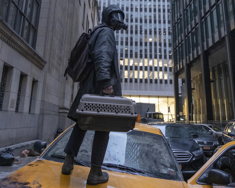 Y: The Last Man -- Yorrick Brown wears a mask in an empty city