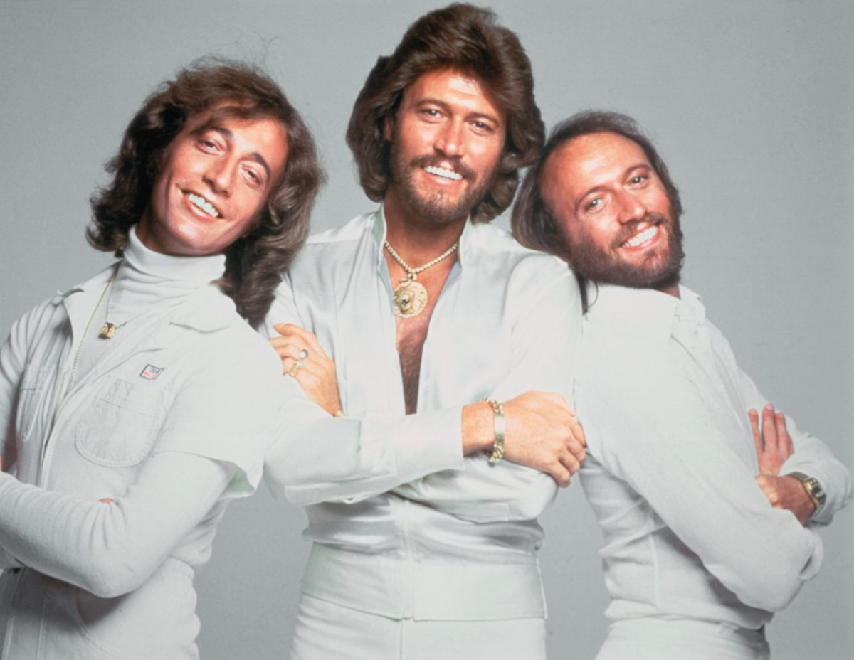 The Bee Gees wearing white