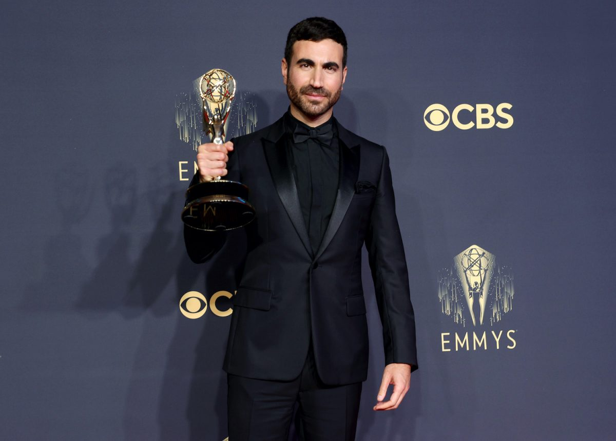 Brett Goldstein holds his Emmy for Outstanding Supporting Actor in a Comedy Series for 'Ted Lasso' in the press room at the 2021 Emmys
