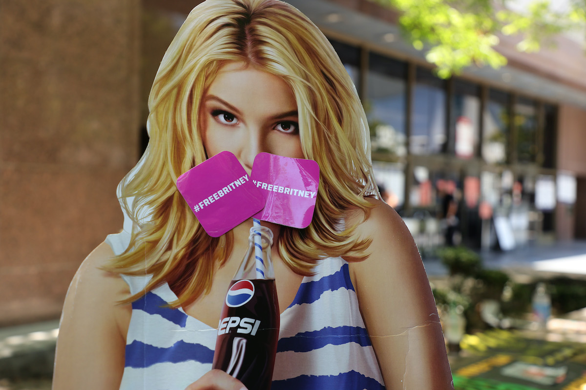 A cardboard cutout of Britney Spears at a #FreeBritney protest at Los Angeles Grand Park during a conservatorship hearing for Spears on June 23, 2021
