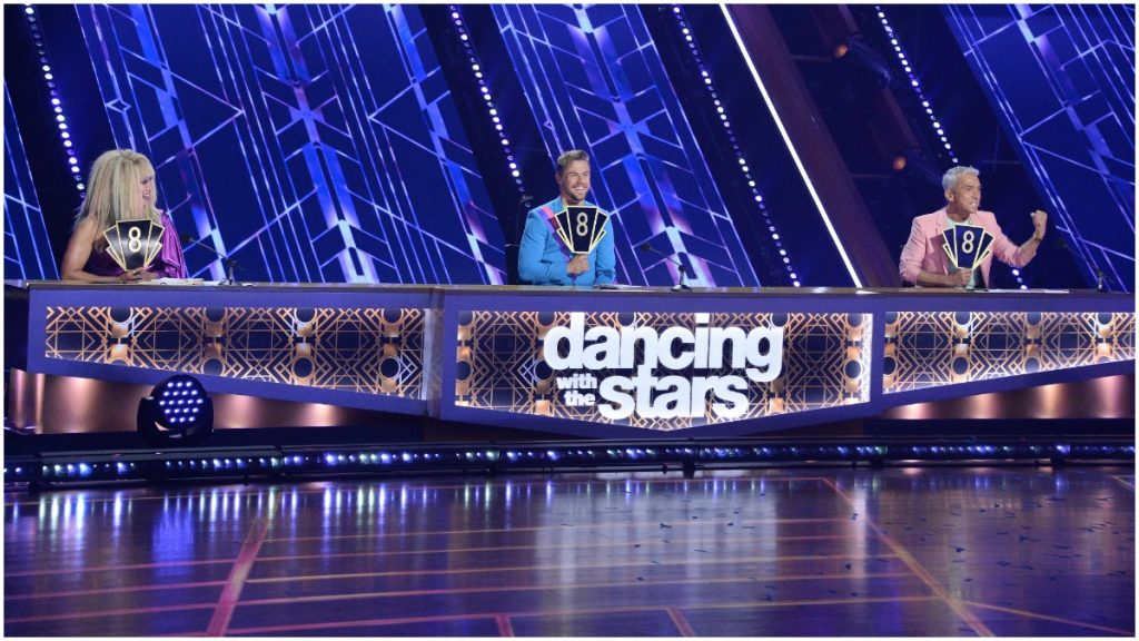 Dancing With the Stars judges behind their table.
