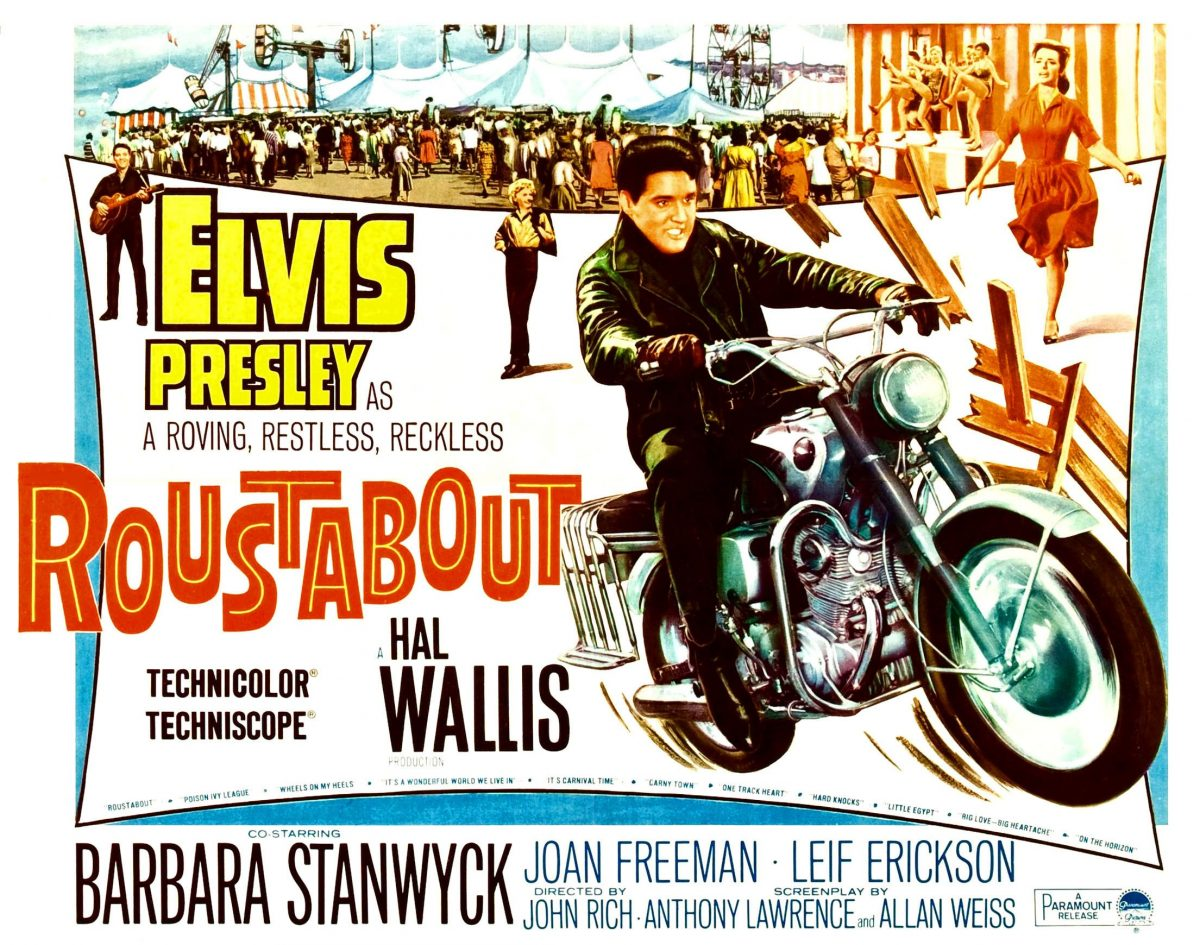 Elvis Presley riding a motorcycle on a poster for the movie 'Roustabout'