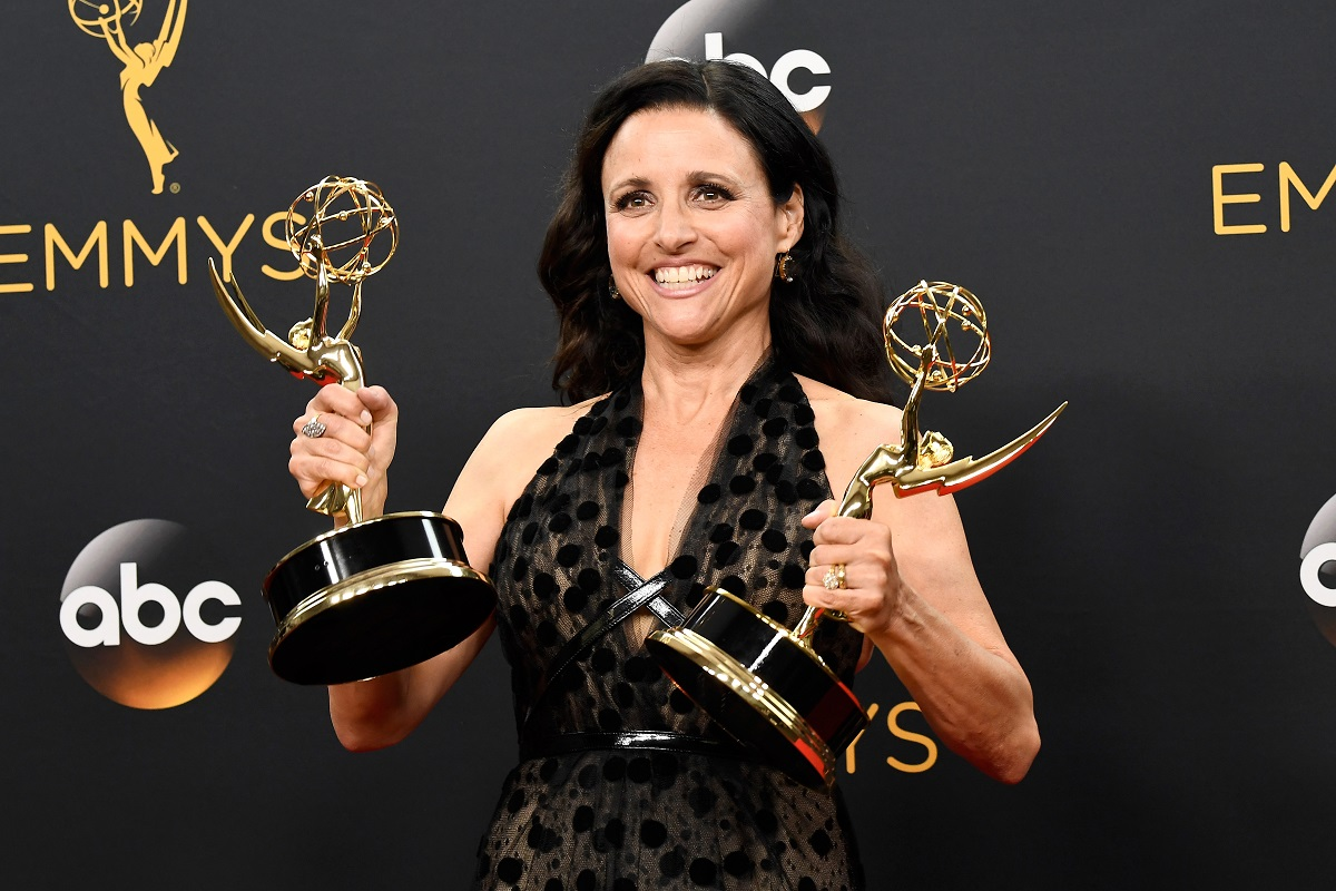 """Actress Julia Louis-Dreyfus, winner of Best Actress in a Comedy Series and Best Comedy Series for """"Veep"""", poses in the press room during the 68th Annual Primetime Emmy Awards at Microsoft Theater on September 18, 2016 in Los Angeles, California"""