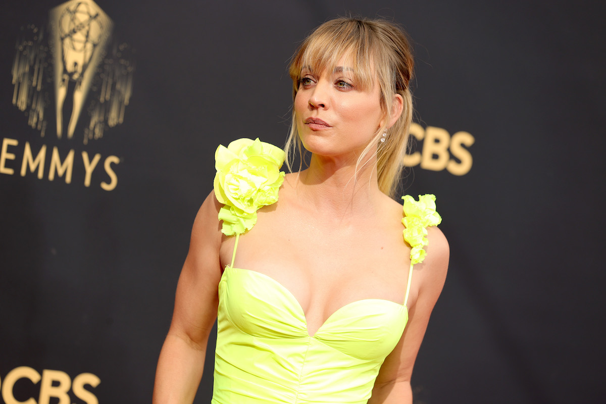 Kaley Cuoco in a neon yellow dress arriving at the 73rd annual Emmy Awards.