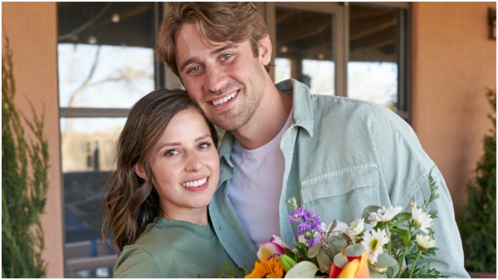 """Katie Thurston and Greg Grippo pose on the set of """"The Bachelorette"""" in happier times."""