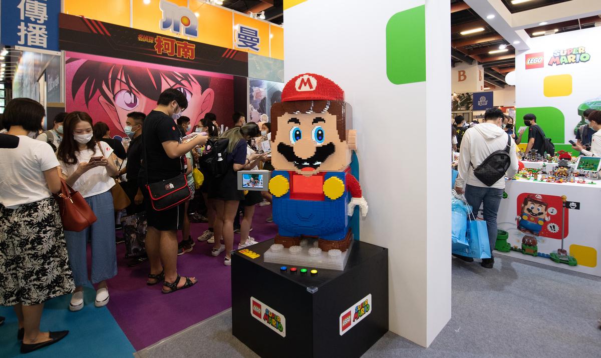 LEGO Super Mario 64 figure on display at the Taipei International ACG Exhibition