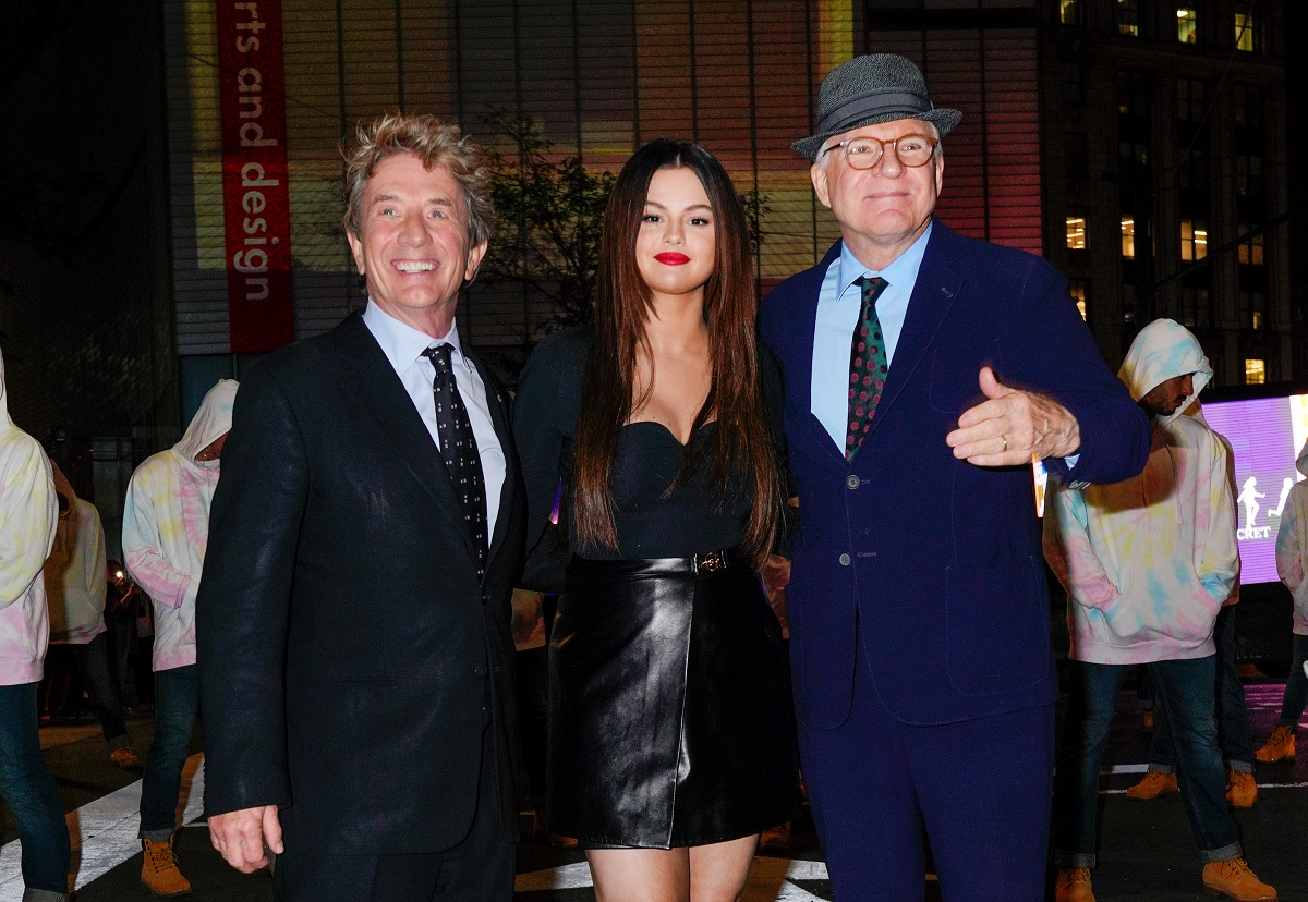 (L-R): Martin Short, Selena Gomez and Steve Martin pose while promoting their new show 'Only Murders in the Building' on September 07, 2021, in New York City.