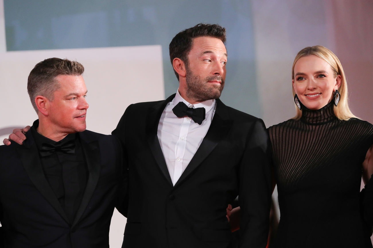 Matt Damon, Ben Affleck, and Jodie Comer at red carpet event for 'The Last Duel'