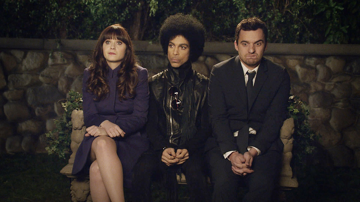 (L-R) Zooey Deschanel, Prince, and Jake Johnson in 'New Girl'