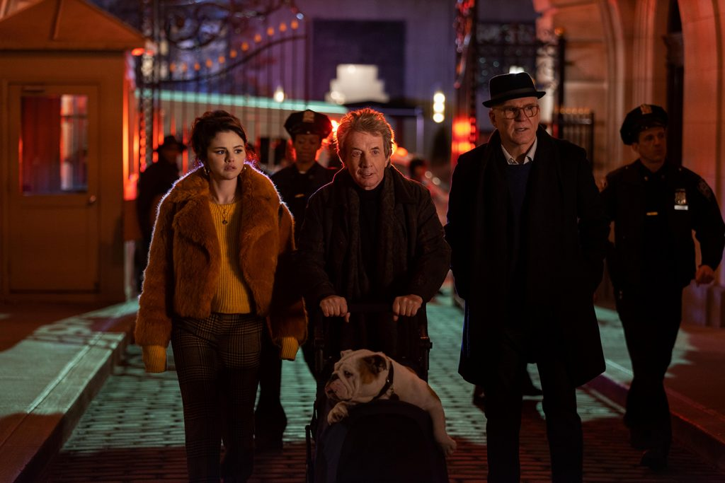 Selena Gomez as Mabel, Martin Short as Oliver, and Steve Martin as Charles in Only Murders in the Building