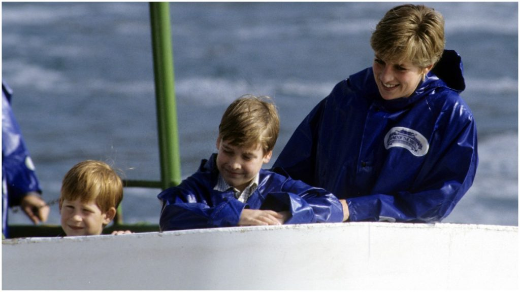 Princess Diana, Prince Harry and Prince William on the Maid of the Mist by Niagara Falls.