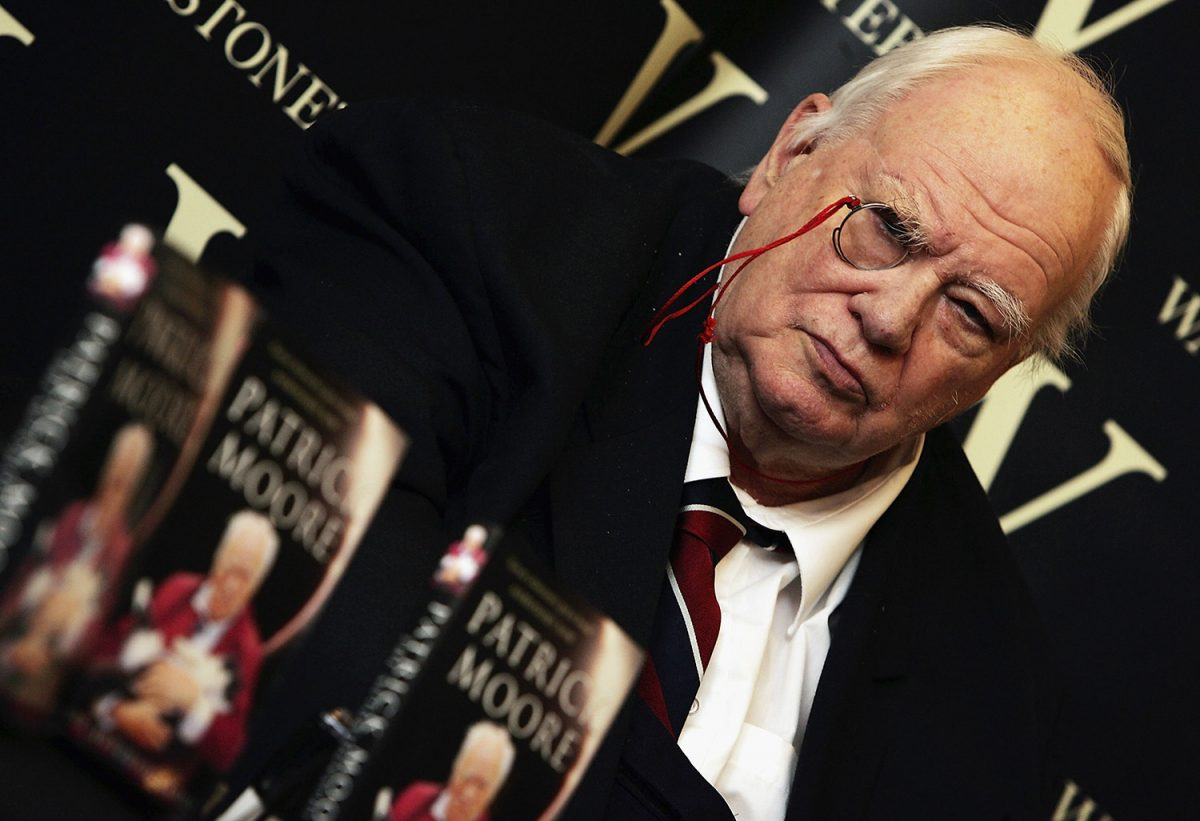Astronomer and GamesMaster star Sir Patrick Moore at a book signing in 2005