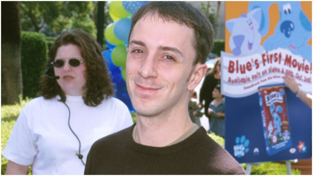 """Steve Burns poses on the red carpet at a press event for """"Blue's Clues."""""""