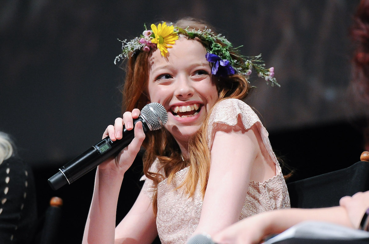 Amybeth McNulty, wearing a flower crown at an event for 'Anne With an E' will play Vickie in 'Stranger Things' Season 4.