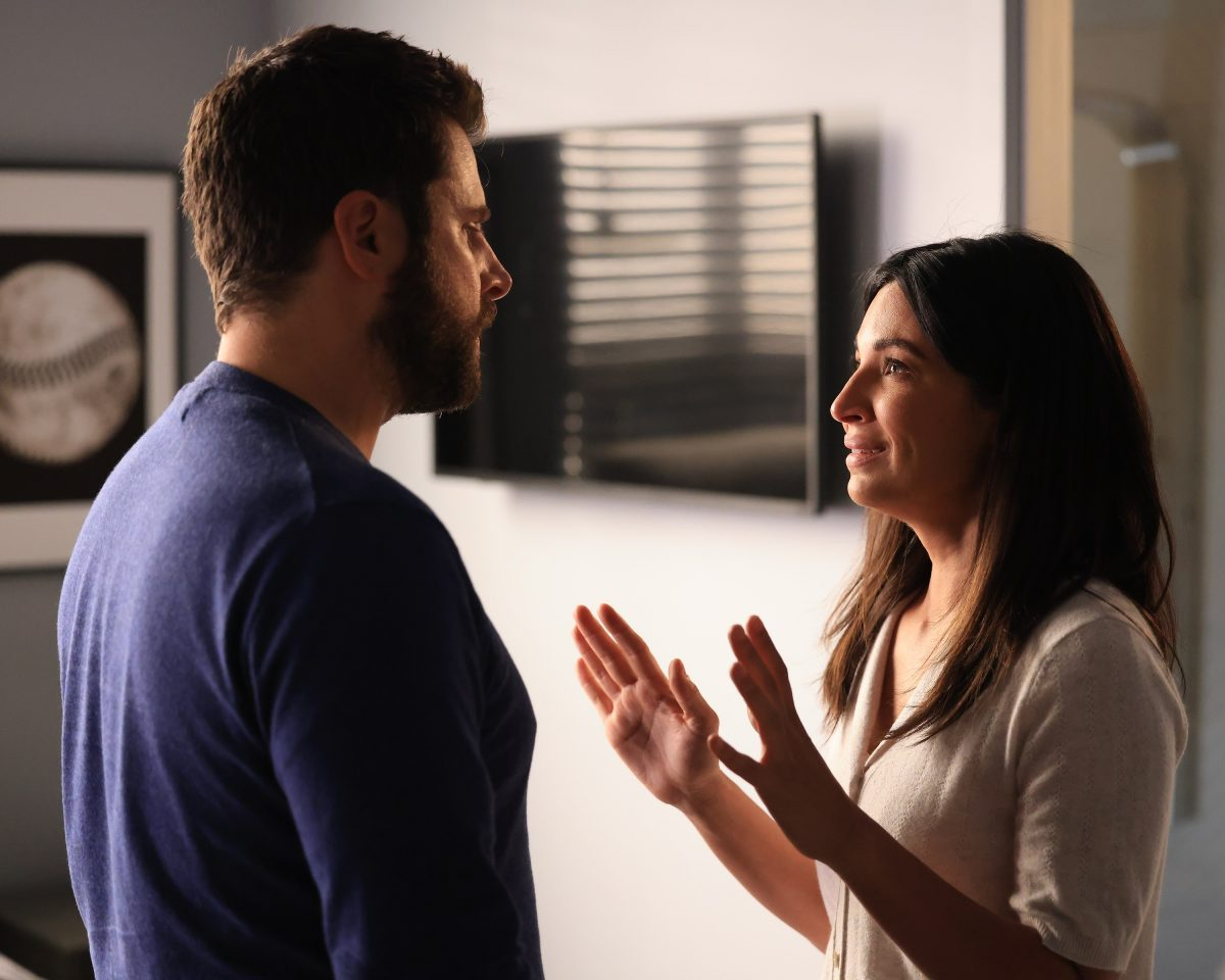 A Million Little Things Season 4 Episode 4 preview photo of Gary looking at Darcy as she holds her hands up