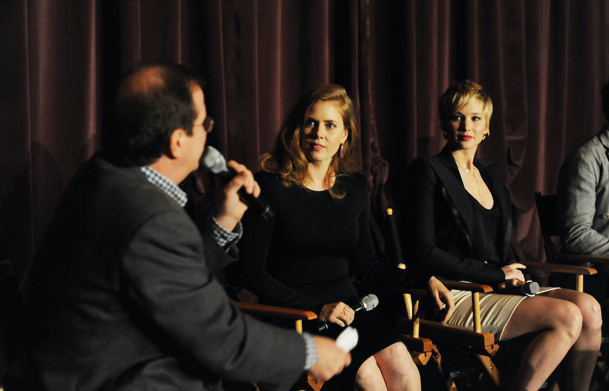 Amy Adams and Jennifer Lawrence being interviewed by the SAG Foundation