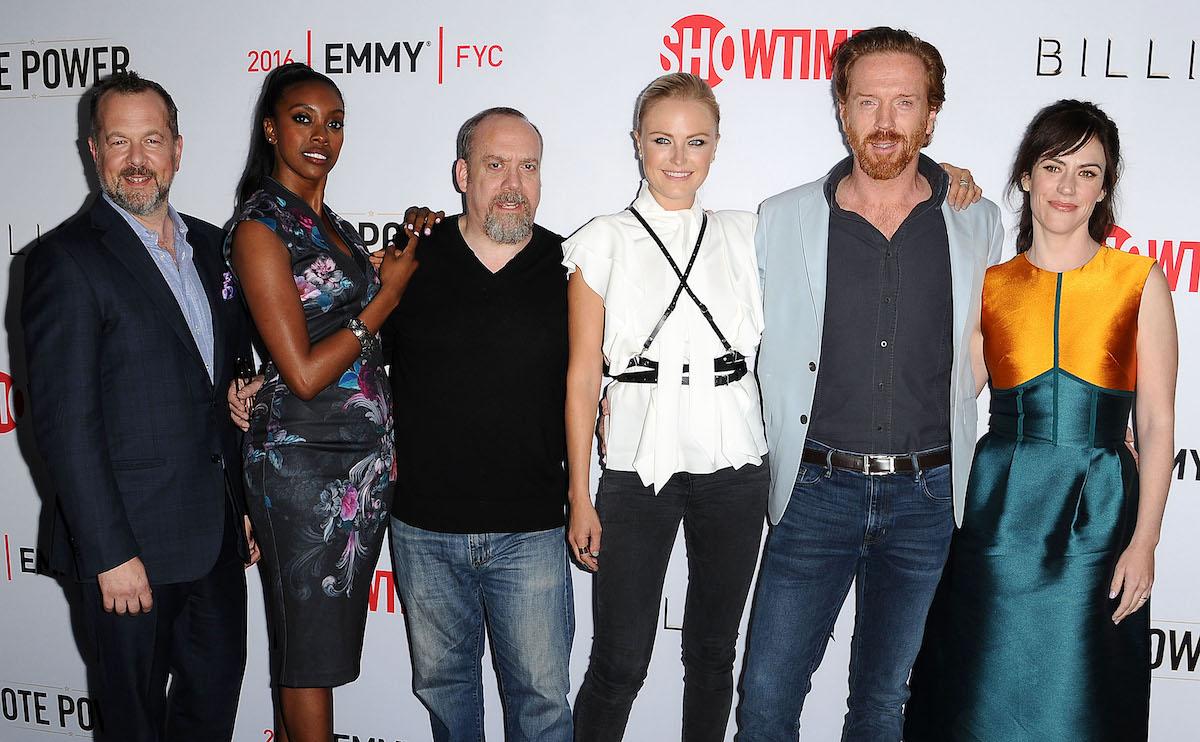 Billions cast: David Costabile (left), Condola Rashad, Paul Giamatti, Malin Akerman, Damian Lewis, and Maggie Siff on April 26, 2016,in Beverly Hills