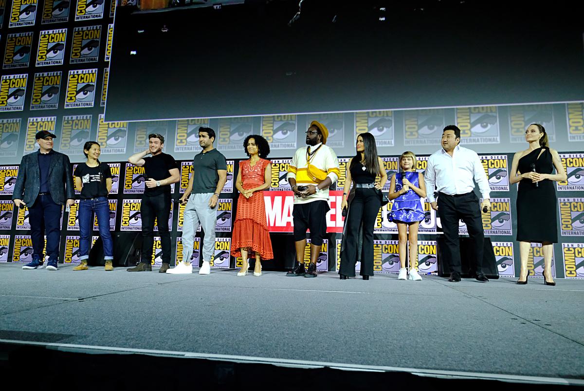 Kevin Feige, Chloe Zhao, Richard Madden, Kumail Nanjiani, Lauren Ridloff, Brian Tyree Henry, Salma Hayek, Lia McHugh, Don Lee and Angelina Jolie longest superhero movies