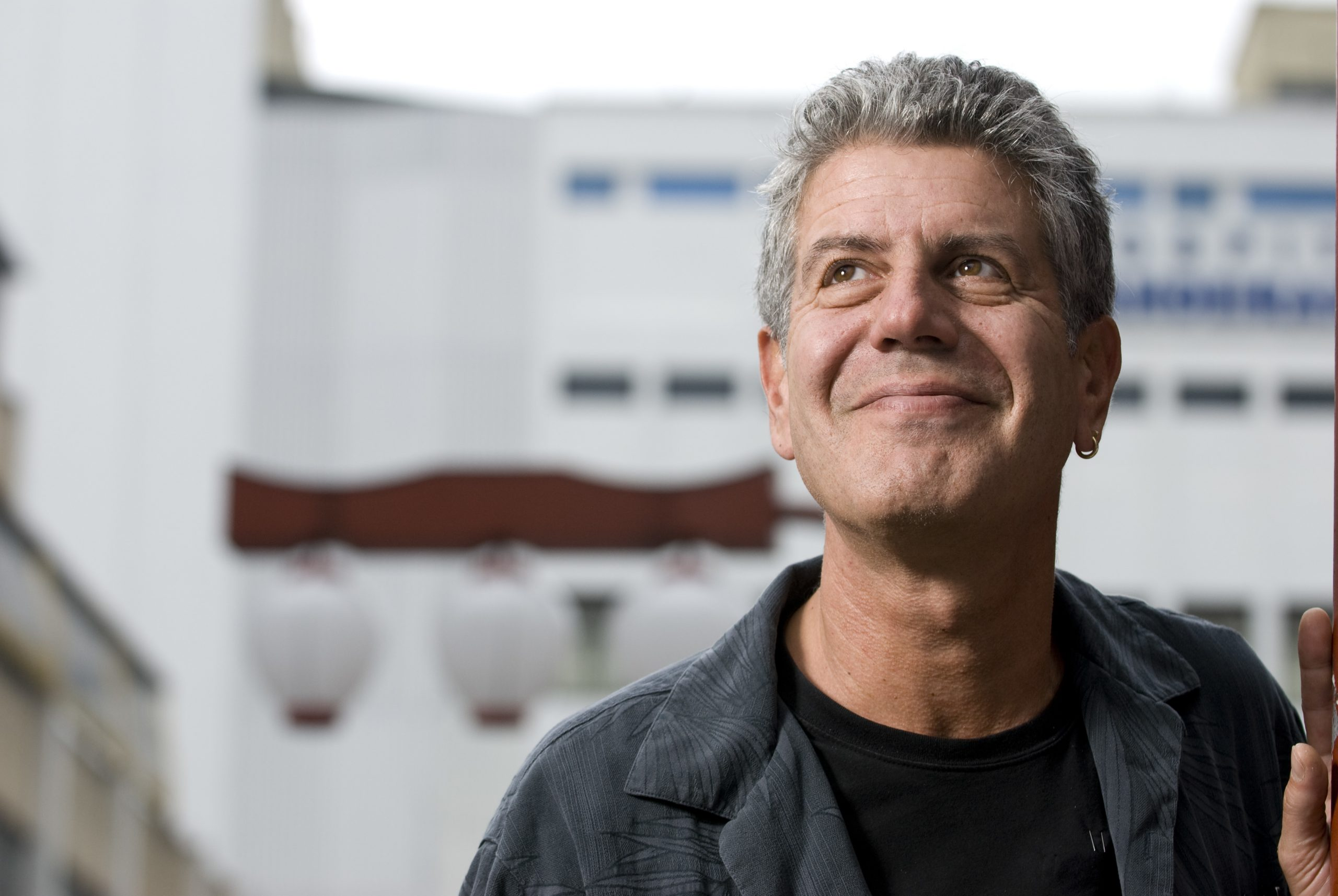 """Anthony Bourdain in the Liberdade area of Sao Paulo, Brazil. Bourdain hosts the TV Show """"No Reservations"""" for the Travel Channel."""