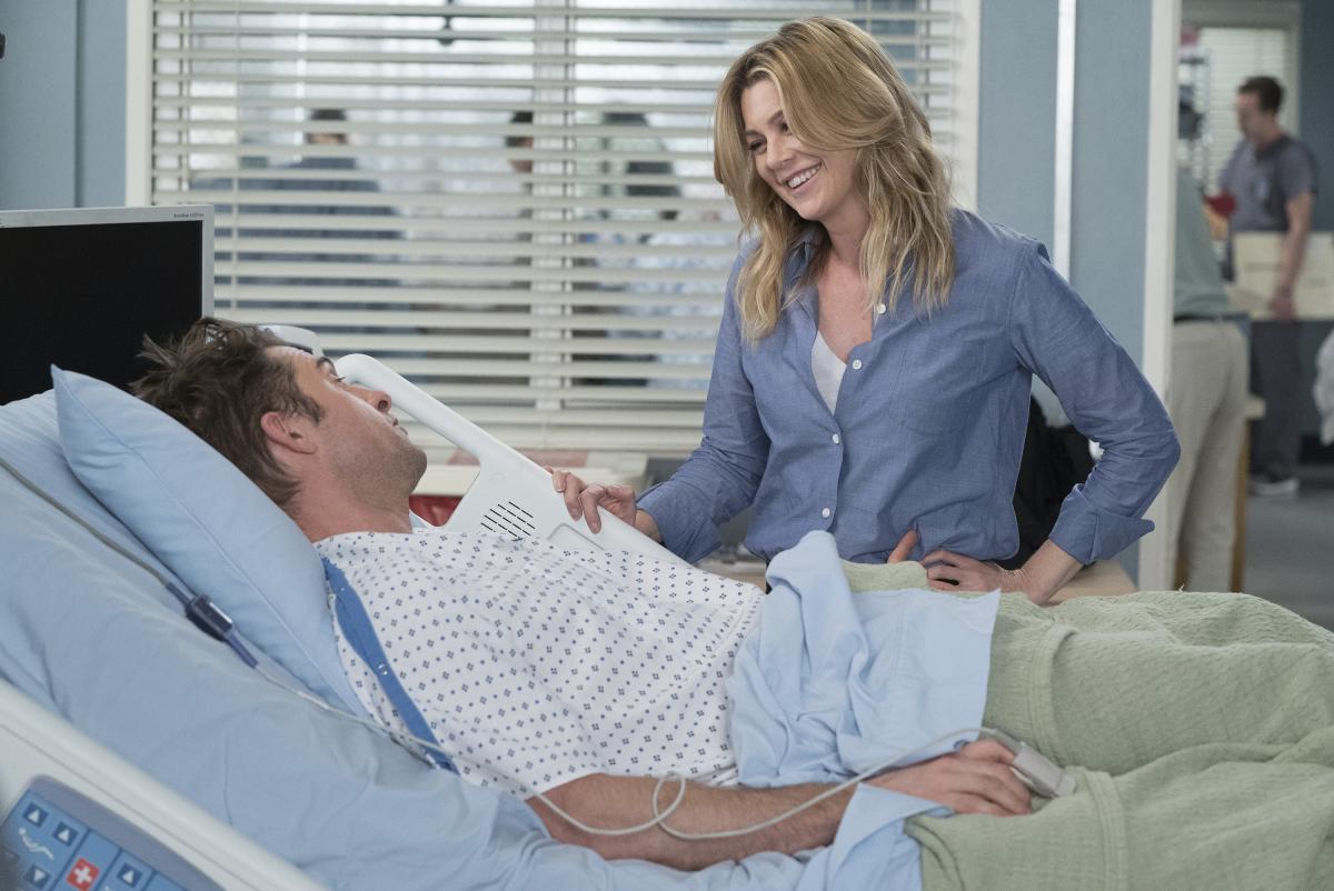 Grey's Anatomy star Ellen Pompeo with guest star Scott Speedman in an episode that aired January 30, 2018