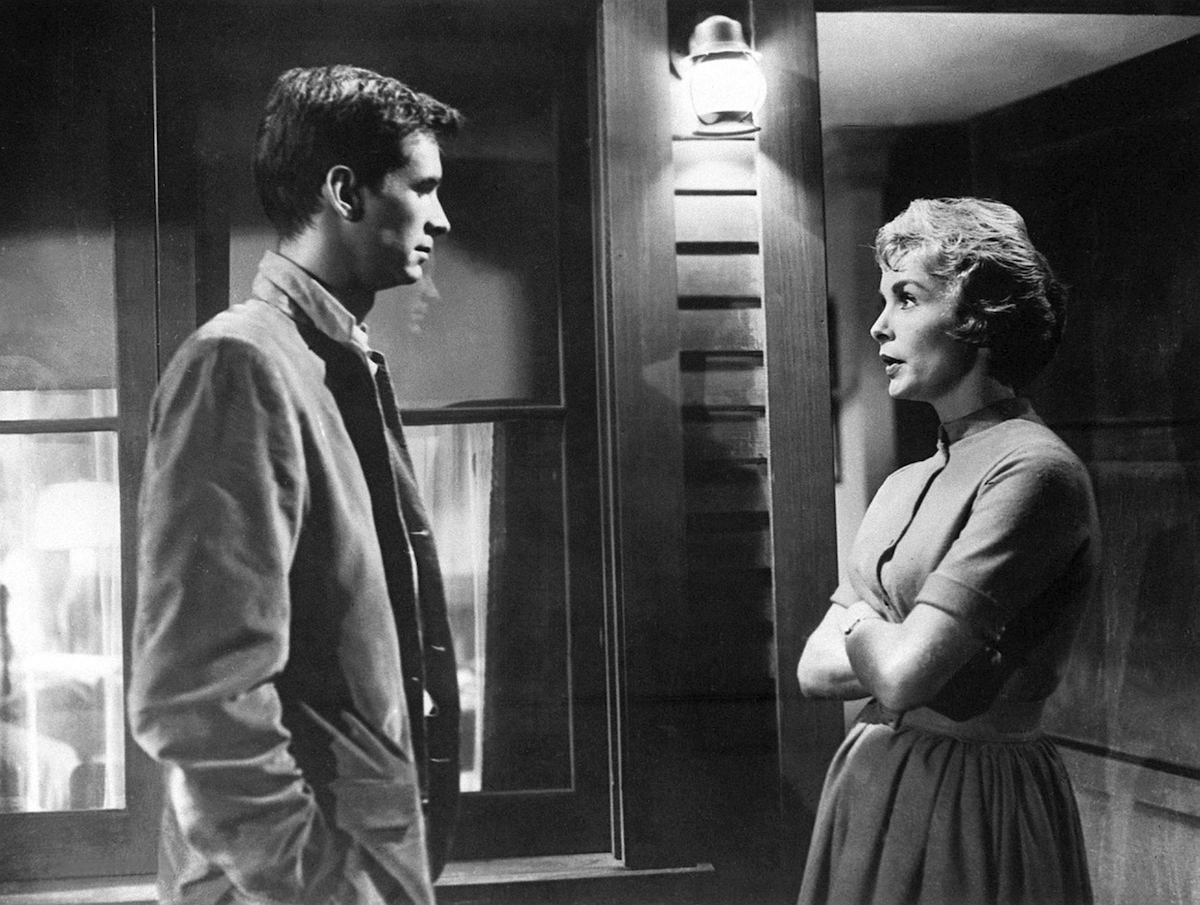 Janet Leigh and Anthony Perkins in a scene from 'Psycho'