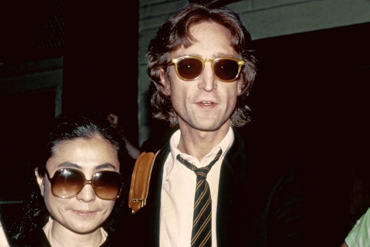 John Lennon and Yoko Ono outside of the Times Square recording studio, The Hit Factory, in 1980.