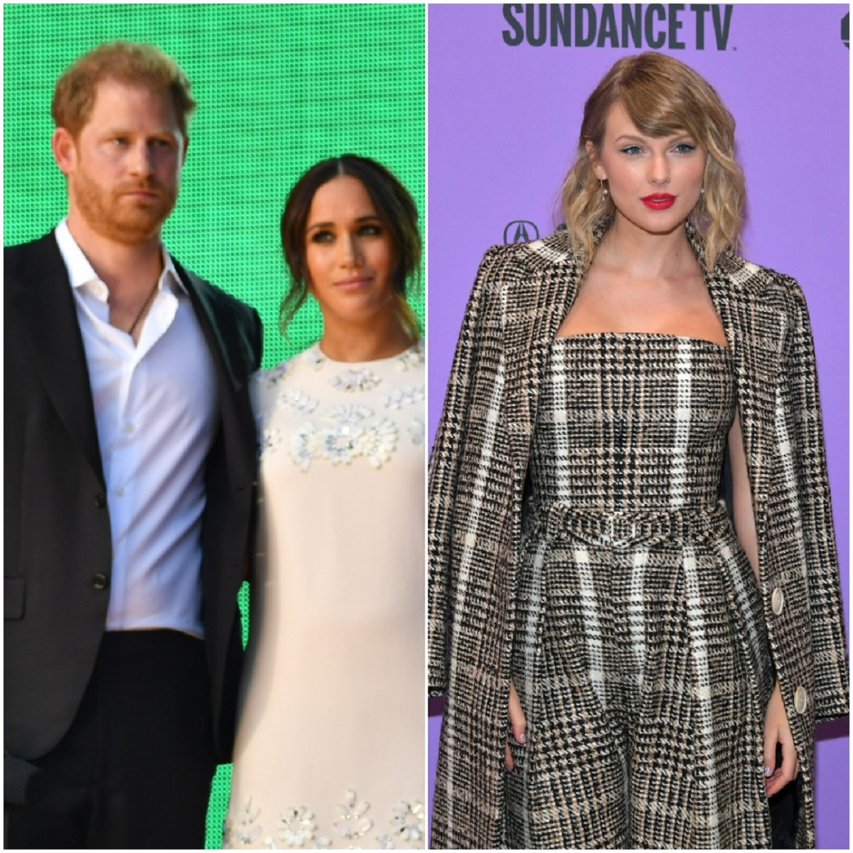 (L) Prince Harry and Meghan Markle onstage at Global Citizen Live Event, (R) Taylor Swift poses on red carpet at Sundance Film Festival