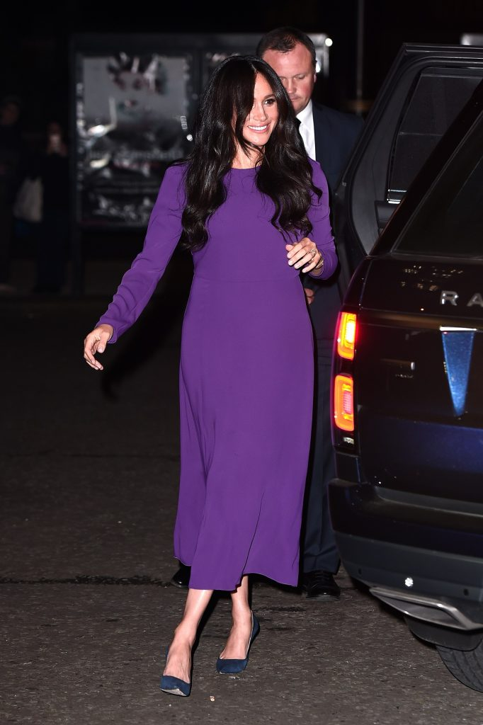 Meghan Markle dons a purple gown at the One Young World Summit