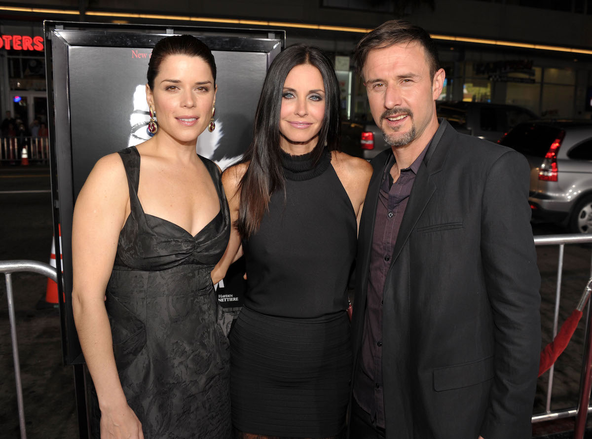 Neve Campbell Courtney Cox David Arquette of 'Scream 5' movie in black outfits