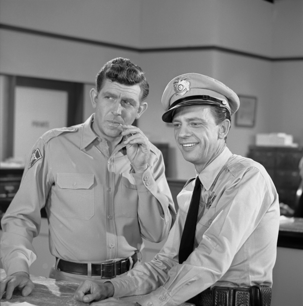 Actors Andy Griffith and Don Knotts in a scene from 'The Andy Griffith Show'