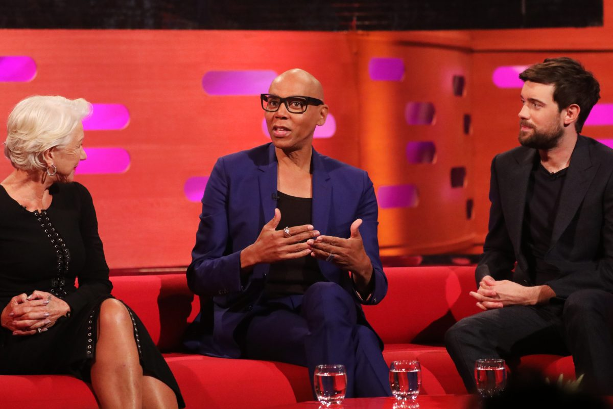 'The Graham Norton Show' guests Helen Mirren, RuPaul, and Jack Whitehall sitting on the couch talking